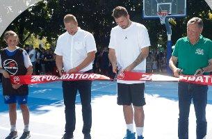 Luka Dončić v Savskem naselju odprl prenovljeni košarkaški igrišči